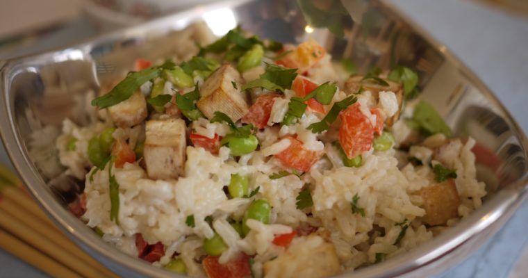 Thai Coconut Rice with Tofu & Red Peppers