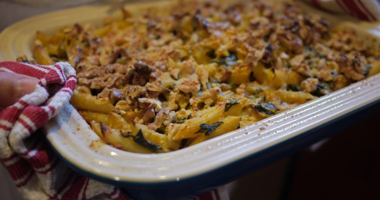 I'll take pot luck: Creamy Pumpkin, Sage and Walnut Pasta Bake